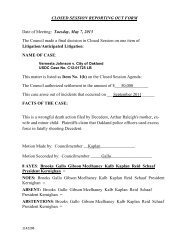 May 7, 2013 Reporting Out Form - Oakland City Attorney