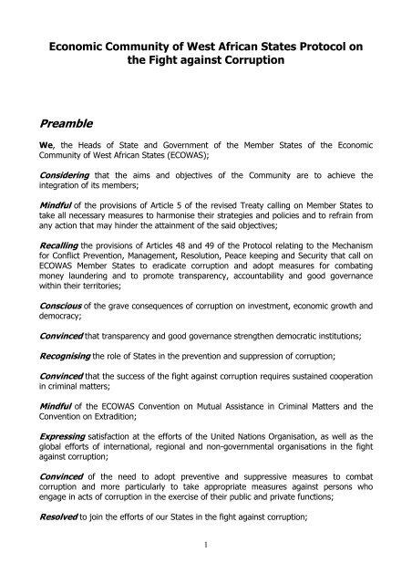 ECOWAS Protocol on Corruption - AfriMAP