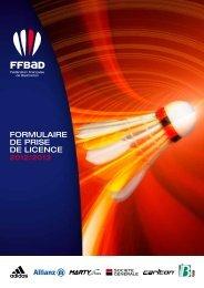 formulaire de prise de licence - Fédération Française De Badminton