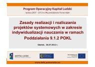 Zasady realizacji i rozliczania projektów systemowych w zakresie ...