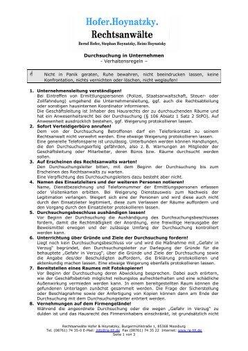 Verhaltensregeln bei Durchsuchungen in Unternehmen - Hofer ...