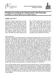 Predigt zum Anfang der Passionszeit: Die Pharisäer - Reformierte ...