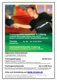 TrainingsWOCHENENDE in Leipzig Technikorientiertes Training