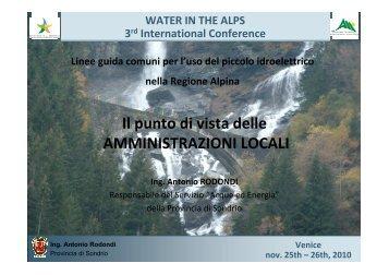 Linee guida comuni per l'uso del piccolo idroelettrico - 3rd Alpine ...