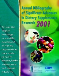 Annual Bibliography of Significant Advances in Dietary Supplement