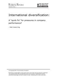 International diversification: - University of Auckland Business Review