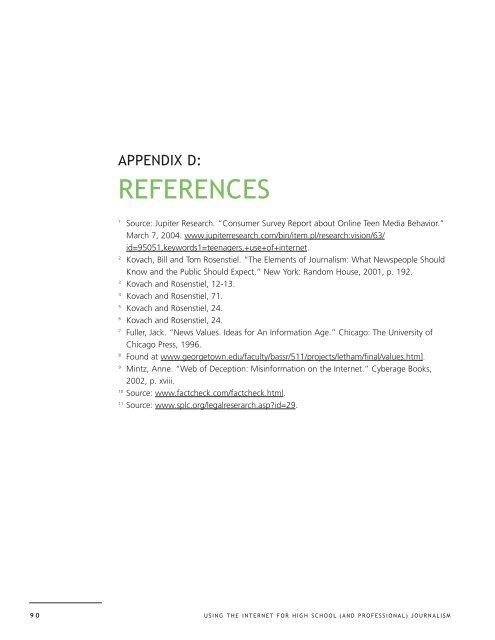 Appendix D: References - High School Broadcast Journalism
