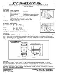 Transfer Pump IV - UV Process Supply