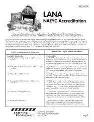LANA NAEYC Accreditation - Learning Zone Express