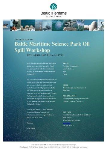 Baltic Maritime Science Park Oil Spill Workshop