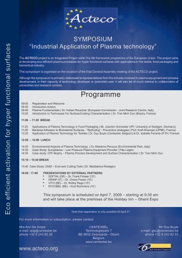 """""""Industrial Application of Plasma Technology"""" - April 7 ... - ACTECO"""
