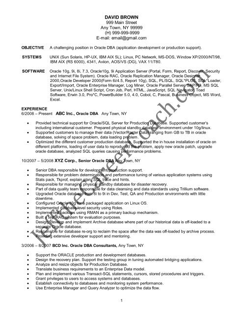 download the Oracle DBA Resume Sample One in PDF