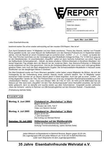 April / Mai / Juni 2005 - Eisenbahnfreunden Wehratal eV
