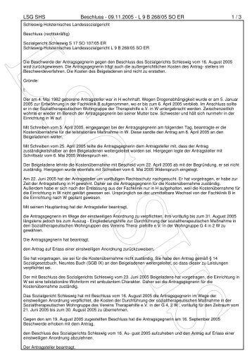 LSG SHS Beschluss - 09.11.2005 - L 9 B 268/05 SO ER 1 / 3