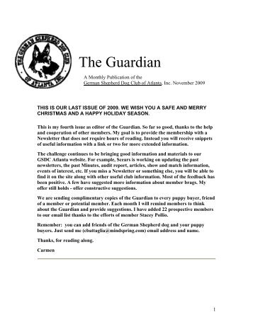 November Guardian - German Shepherd Dog Club of Atlanta