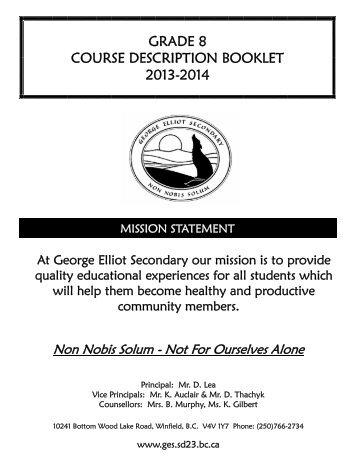 Grade 8 Course Catalogue 2013-14.pdf - George Elliot Secondary