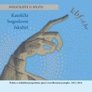 Brošura o upisu - Katolički bogoslovni fakultet, Split