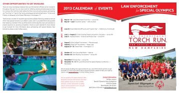 Law EnforcEmEnt spEciaL oLympics 2013 caLEndar of EvEnts