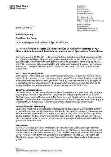 Medienmitteilung Internetstadtplan - eZürich
