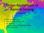 Remote sensing versus in situ Sea level rise Ocean currents and ...