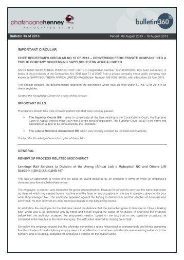 IMPORTANT CIRCULAR GENERAL Bulletin 6 of 2013 Bulletin 33 of ...
