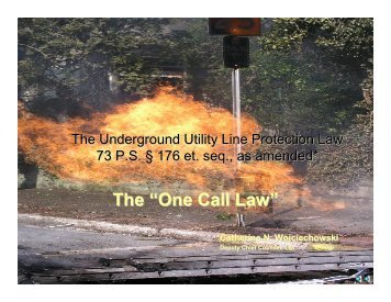 "The ""One Call Law"" - PUC - Pennsylvania Public Utility Commission"
