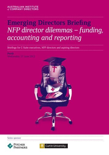 NFP director dilemmas – funding, accounting and reporting
