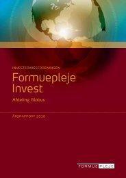 Årsrapport 2010 for Formuepleje Invest, afdeling Globus
