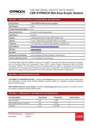 CSR Gyprock™ Wet Area Acrylic Sealant MSDS
