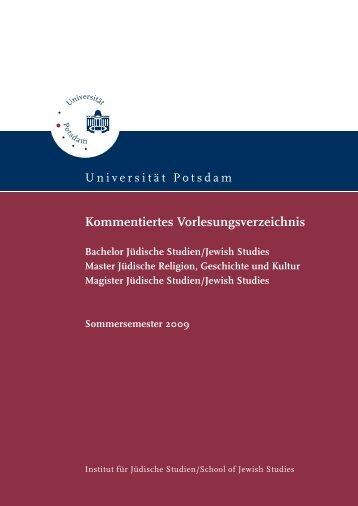 Kommentiertes Vorlesungsverzeichnis - Universität Potsdam