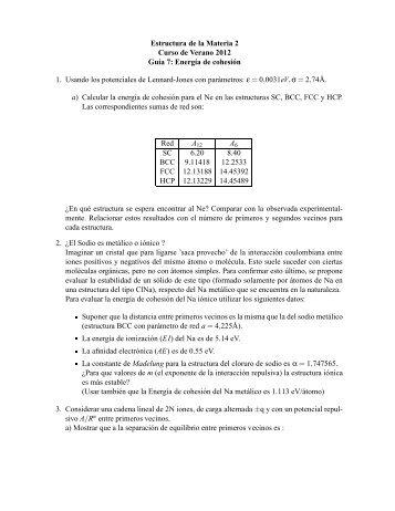 Estructura de la Materia 2 Curso de Verano 2012 Guía 7: Energía de ...