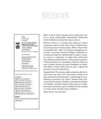bülten 66 (pdf) indir - Bilim ve Sanat Vakfı