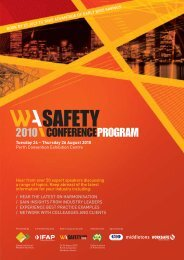 2010 Western Australia (WA) Safety Conference Program.