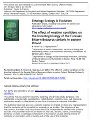 The effect of weather conditions on the breeding biology of ... - Lublin