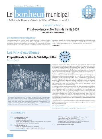 bulletin spécial Prix d'excellence - Réseau québécois des villes et ...