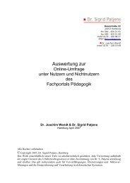 Auswertung zur Online-Umfrage unter Nutzern und ... - Evalinfo