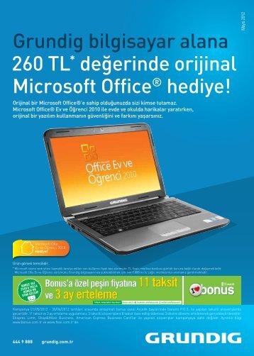 Grundig bilgisayar alana 260 TL* değerinde orijinal Microsoft Office ...