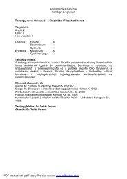 Romanisztika alapszak Tantárgyi programok Tantárgy ... - NymE - SEK