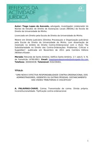 Tiago Lopes de Azevedo, advogado, investigador colaborador do ...