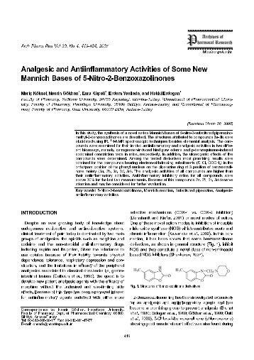 Analgesic and Antiinflammatory Activities of Some