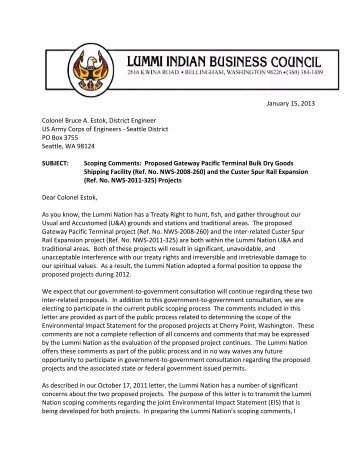 Lummi Indian Business Council - EISs for the Proposed Gateway ...
