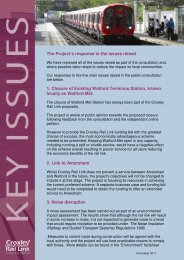 Response to Key Issues - Croxley Rail Link