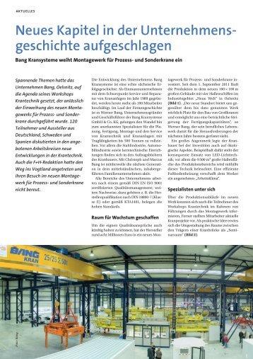 Neues Kapitel in der Unternehmens - BANG Kransysteme