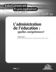 L'administration de l'éducation : quelles compétences…? - acelf