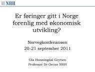 Er føringer gitt i Norge forenlig med økonomisk ... - Norvegfinans