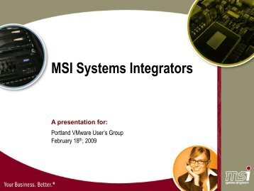 MSI Systems Integrators - VMware Communities