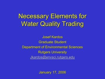 Necessary Elements for Water Quality Trading