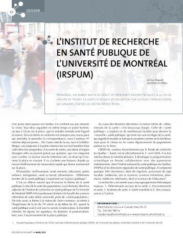 La santé pUbLIQUe… - Fonds de la recherche en santé du Québec