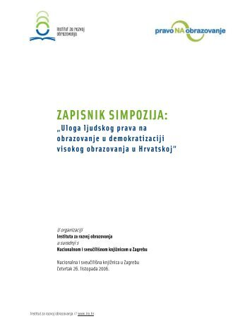 Zapisnik simpozija - Institut za razvoj obrazovanja