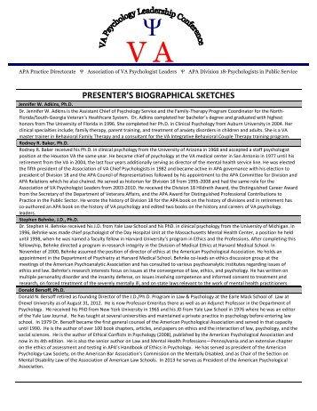 VAPL 2013 Presenter Bios-Final.pdf - VA Psychology Leadership ...